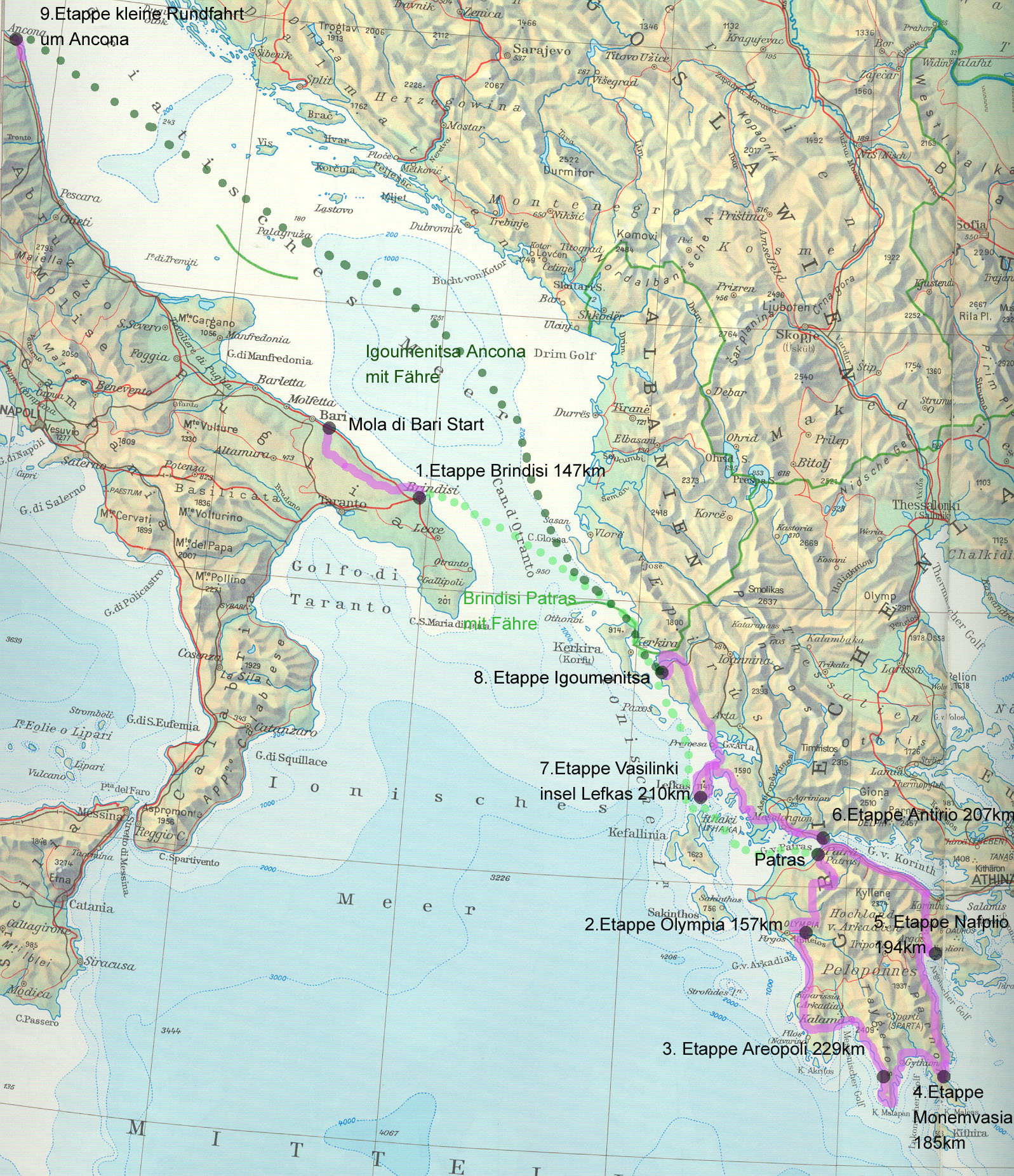 Karte Griechenland Peloponnes.Velotour Durch Griechenland 16 Bis 24 Marz 2008
