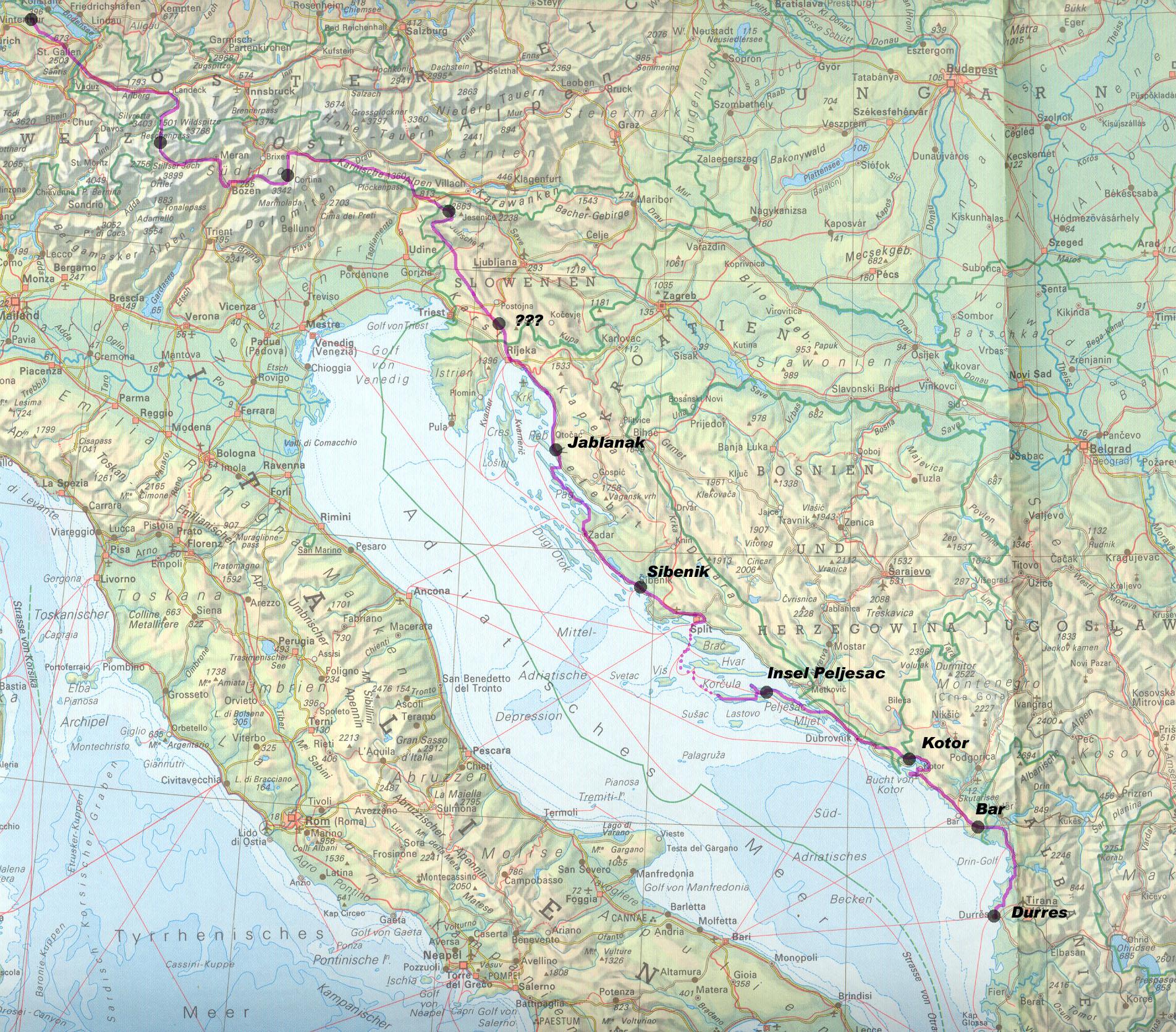 Karte Montenegro Kroatien.Projekt Velotour Albanien